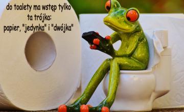 do toalety ma wstęp tylko ta trójka: papier,